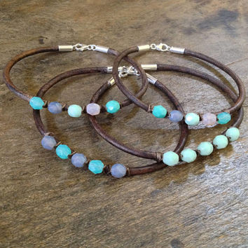 Stacking Bracelets, Boho Leather Bracelets, Bohemian Jewelry, Friendship Bracelets, Artisan Leather Jewelry, Leather Wrap, Macrame Jewelry