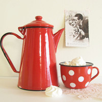 Mid Century Red Vintage Enamel Teapot on Etsy by mycherrytree