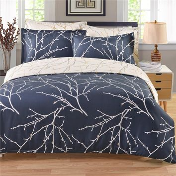 2017 Printed Branch Plant Bedding Sets Twin Queen King Size Boho Palace Bedding Set Duvet Cover Bed Sheet Bed Cover S4BS015