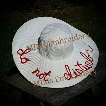 Custom Embroidered Beach Hat Do Not Disturb Large Oversized Floppy Straw like Sun Hat