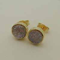 White Druzy Stud Earrings - Gold Plated Round Earrings Set With Druze Stones