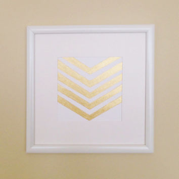 Metallic Gold Hand-painted Chevron Print Wall Art With Frame