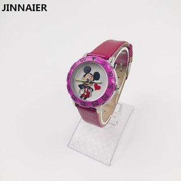 1 Piece 2018 Newest 5 Colors Cartoon Mickey Mouse Watches For Girls Small Leather Quartz Wrist Watch Clock Watches Relojes Mujer
