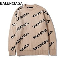 BALENCIAGA Autumn Winter Women Men Casual Print Knit Sweater Sweatshirt Khaki