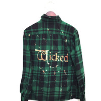 Wicked Musical Shirt in Green Plaid Flannel