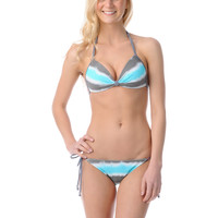 Gossip Wipe Out Turquoise & Grey Reversible String Bikini Bottom