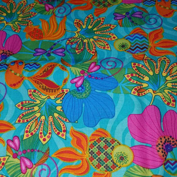 Floral - fish - aquatic - nautical -  - print  -  quilting - cotton  - fabric