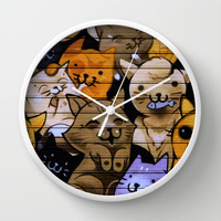 Cats, cats, caaaaatttts! Wall Clock by Chido Things