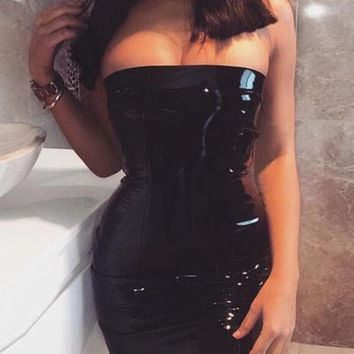 Black Bandeau Off Shoulder Backless Latex Bodycon Party Mini Dress