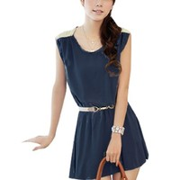 Women Self Tie Knot Accent Scoop Neck Sleeveless Mini Dress