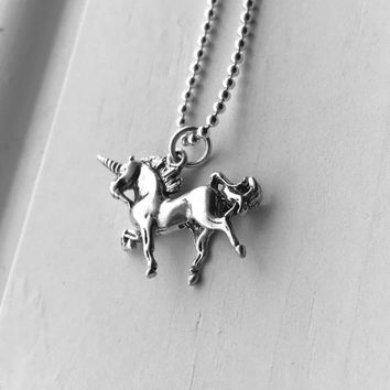 Unicorn Necklace, Sterling Silver, Unicorn Jewelry, Gifts for Her, Everyday Jewelry, Unicorns, Handmade Necklace, Unicorn Pendant