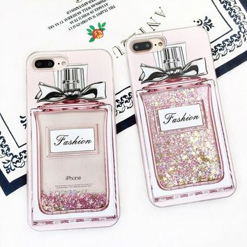 Luxury Girl Pink Bling Perfume Bottle Phone Case For iPhone.