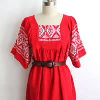 Vintage 70s Red & White Bohemian Embroidered Cotton Maxi Dress
