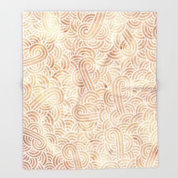 Iced coffee and white zentangles Throw Blanket by Savousepate