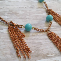 Turquoise Rosary Necklace / Czech Glass Beads / Real Copper Jewelry / Upcycled Jewelry / Copper Tassel Necklace / Genuine Copper Necklace