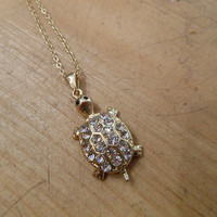 Gold Rhinestone Turtle Necklace | Candy's Cottage