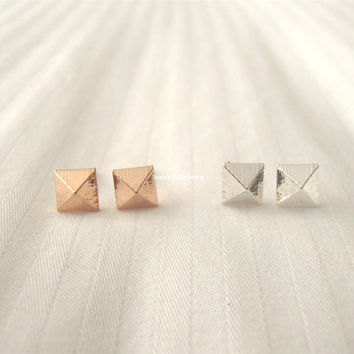 Square Stud Earrings - Gold and Silver; cute and simple square stud earrings; minimalist studs;