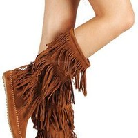 Feels Like Fall Fringe Boot: Rust
