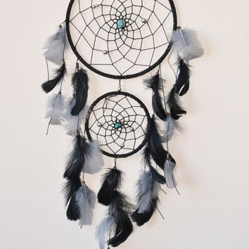 Large Dream catcher, Black Dream catcher, Native American Dreamcatcher, Wall hanging, Hippie Dream catcher, Gift for Men, Turquoise Stones