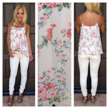 Willow and Rose Printed Tank - IVORY