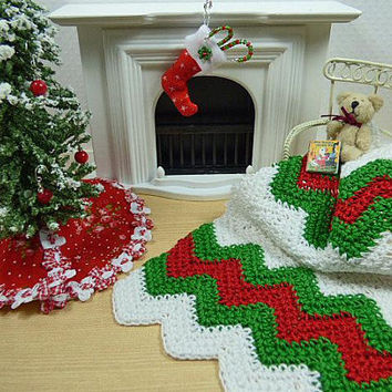 Christmas Dollhouse Miniatures, Holiday Afghan, Scale Doll, Christmas Blanket, Chevron Throw, Ripple Blanket, Crochet Blanket, Artisan Decor
