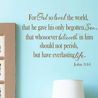 Wall Decal-John 3 16 - Bible Quote Vinyl Wall Decal Lettering Words