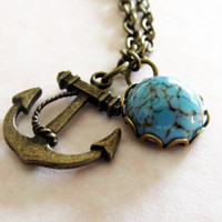Antique Bronze Anchor Necklace