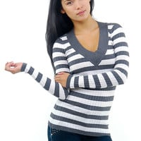Cute Sweater- Gray Striped Sweater - V neck Sweater- $16.99