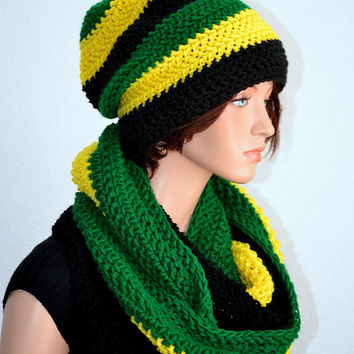 Jamaican Infinity Scarf and Slouchy Beanie Set/ Handmade Womens accessory set