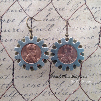 Coin Earrings, Penny Earrings, Dangle Earrings, Steampunk Jewelry, Steam Punk, Steampunk Earrings, Drop Earrings, Clock Part Earrings