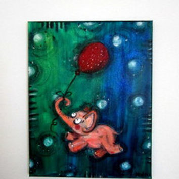 Nursery art, original painting, acrylic paints, pink elephant, red balloon, with polka dots, fine glitter,  colorful picture, childrens art