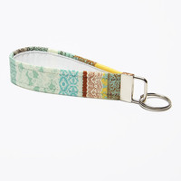 Fabric Keychain, Handmade Key Fob, Wristlet Strap - Turquoise and Aqua Lace Print