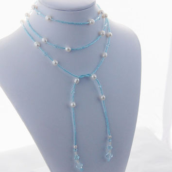 Aquamarine Blue Swarovski Crystal and Pearl Lariat, Beaded Lariat, Long Lariat, Lariet Necklace, Trending Lariat Necklace, Trending Jewelry