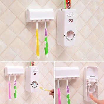 Hands Free Automatic Toothpaste Dispenser and Toothbrush Holder Organizer