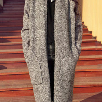 Long Sleeve Double Pockets Knitted Midi Cardigan