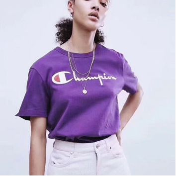 Champion Overseas Limited Edition Purple Letter Printing Tide Brand T-shirt Men and Women Pass Tee F0399-1