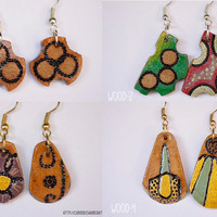 Pyrographed Wood Earrings - Small earrings with diferent abstract pattern on each side-Choose your pair