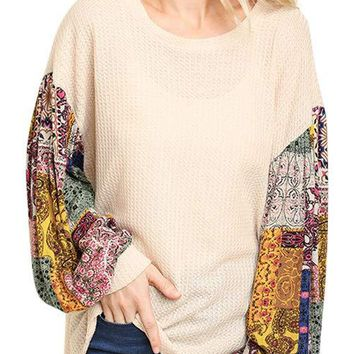 Paisley Print Sleeve Waffle Knit Top by Umgee