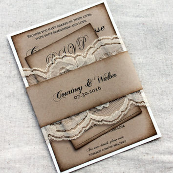 Rustic Wedding Invitations, Kraft Invitation, Lace wedding Invitation, Aged Invitation Set, Barn Wedding Invitation Sets, Invtation and RSVP