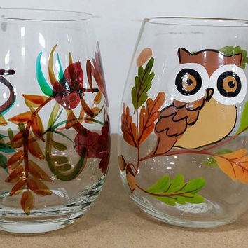 Fall Wine Glasses, Custom Autumn Stemless Wine Glasses, Thanksgiving Inspired Custom Glasses