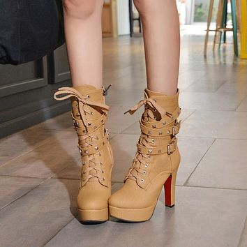Motorcycle High Heels Rivets Punk Ankle Boots
