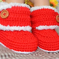 Handmade Infant Baby Adorable Gifts Crochet Toddler Christmas Santa Claus Cosplay Knitted Boots Shoes Socks Leg Warmer Red