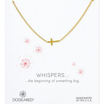 Dogeared | Gold Whispers Sideways Cross Necklace