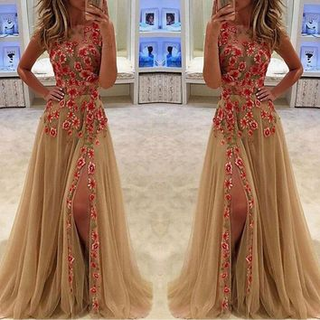 Lace Mesh Flower Embroidery Sleeveless Scoop Long Party Dress