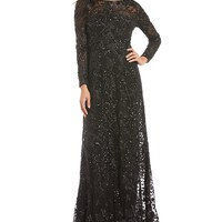 David Meister Embroidered Dot Sequin Gown   Dillards