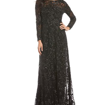 David Meister Embroidered Dot Sequin Gown | Dillards