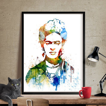 Frida Kahlo Art, Frida Kahlo Print, frida kahlo poster, Watercolor Painting, Watercolor art, Wall art print, wall hanging, wall decor (228)
