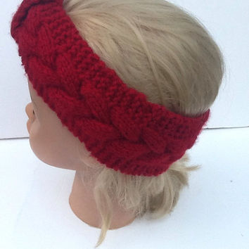 Knitted hairband - cranberry red - cable knit -  soft headband - stocking stuffer - christmas red - winter wear - headband - ear warmers -