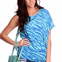 Seafoam Royal Blue Zebra Print One Shoulder Sleeve Adorable Top