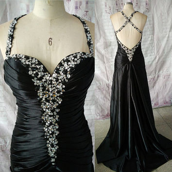 Elastic Satin Split Front Backless Sexy Sweetheart Beads Black Formal Evening Dresses Prom Dresses Party Dresses ET161